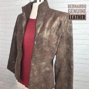 Bernardo Bronze Leather Jacket, Women's Size Small